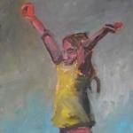 Maedchen mit roter Hose | Acryl auf Leinwand | 2010 | 140 x 70 cm